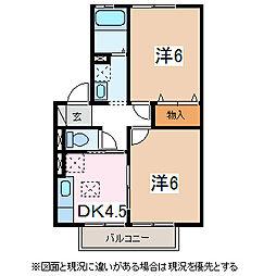 ウィングス三郷 A・B棟[1階]の間取り