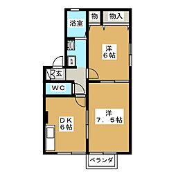 富士見ハイツ B棟[1階]の間取り