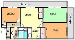 砂川ヒルサイドスクエア[3階]の間取り