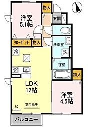 兵庫県姫路市香寺町中仁野の賃貸アパートの間取り