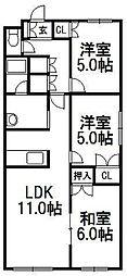 プリオール福井[3階]の間取り