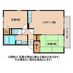 静岡県静岡市清水区北矢部町の賃貸アパートの間取り