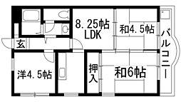 兵庫県宝塚市安倉中2丁目の賃貸マンションの間取り