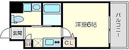 Live Casa上新庄 8階1Kの間取り