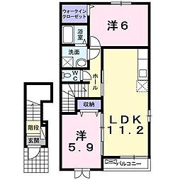 愛知県高浜市小池町2丁目の賃貸アパートの間取り