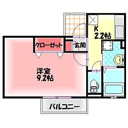 京阪本線 滝井駅 徒歩5分の賃貸アパート 2階1Kの間取り