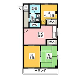 クレア武藤[4階]の間取り