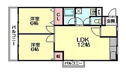 ラフェスタ木村[6階]の間取り
