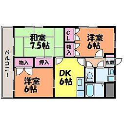 愛媛県松山市余戸西5丁目の賃貸マンションの間取り