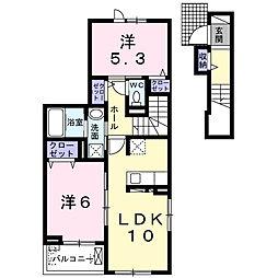 スターカレント成田I 2階2LDKの間取り