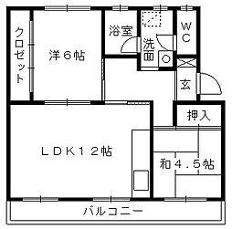 第一パークサイドマンション[406号室]の間取り