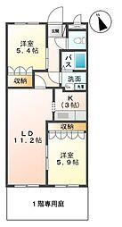 福岡県八女市蒲原の賃貸アパートの間取り