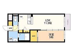 仮)野芥3丁目 新築賃貸マンション 5階1DKの間取り