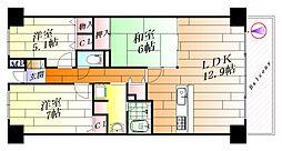 グランドシティダイアパレス吹田ガーデンコート4番館[4階]の間取り