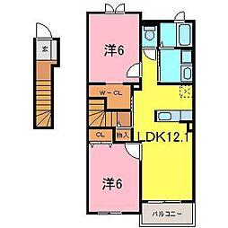 愛知県高浜市神明町2丁目の賃貸アパートの間取り