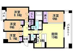 シティハウス円山北 4階4LDKの間取り