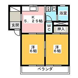 クリエーション西峯田 2階2Kの間取り