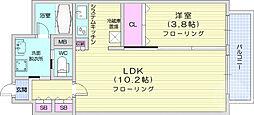 上杉ガーデンスクエア 4階1LDKの間取り