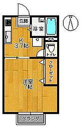 佐賀県佐賀市鬼丸町の賃貸アパートの間取り
