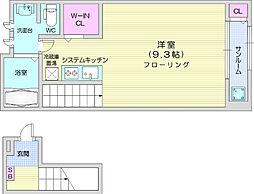 仙台市営南北線 泉中央駅 徒歩11分の賃貸アパート 2階ワンルームの間取り
