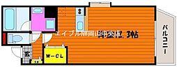 岡山県岡山市北区大供2丁目の賃貸マンションの間取り