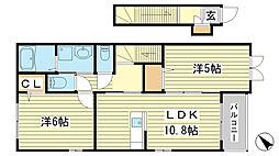網干区興浜アパート[201号室]の間取り