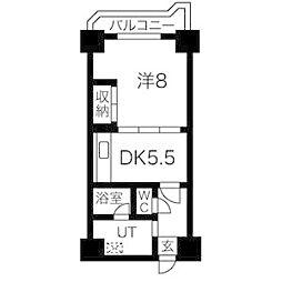 ドミ18ロイヤル[6階]の間取り