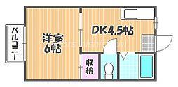JR吉備線 備前三門駅 バス8分 笹が瀬下車 徒歩13分の賃貸アパート 2階1Kの間取り
