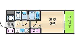 エスリード大阪ドームCERCA 9階1Kの間取り