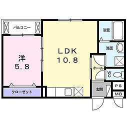 南海高野線 萩原天神駅 徒歩10分の賃貸アパート 2階1LDKの間取り