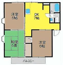 神奈川県茅ヶ崎市若松町の賃貸アパートの間取り