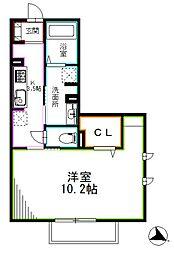 京王井の頭線 浜田山駅 徒歩6分の賃貸アパート 1階1Kの間取り