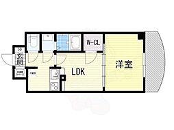 Osaka Metro御堂筋線 新大阪駅 徒歩5分の賃貸マンション 17階1LDKの間取り