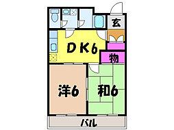 愛媛県松山市三杉町の賃貸マンションの間取り