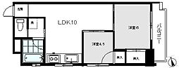 東京メトロ日比谷線 仲御徒町駅 徒歩8分の賃貸マンション 6階2LDKの間取り