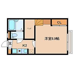 近鉄生駒線 菜畑駅 徒歩6分の賃貸アパート 1階1Kの間取り