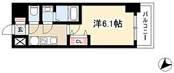 アステリ鶴舞エーナ 4階1Kの間取り