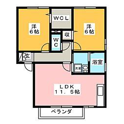 群馬県高崎市下中居町の賃貸アパートの間取り