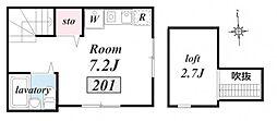 中野・高円寺徒歩圏 1人暮らしに最適な築浅・アーバンテラス高[201号室]の間取り