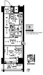 都営大江戸線 門前仲町駅 徒歩5分の賃貸マンション 2階1DKの間取り