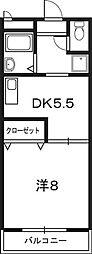 ガーデンテラス物部 3階1DKの間取り