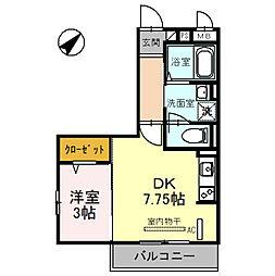 タウンコート上木崎 3階1DKの間取り