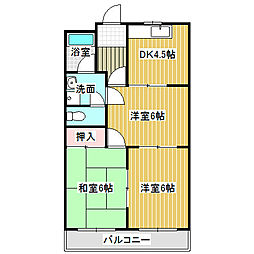 愛知県名古屋市中川区西伏屋2丁目の賃貸マンションの間取り
