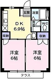 東京都青梅市河辺町8丁目の賃貸アパートの間取り