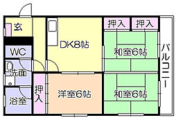 福岡県久留米市白山町の賃貸マンションの間取り