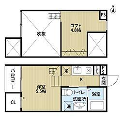 愛知県名古屋市北区水切町7丁目の賃貸アパートの間取り