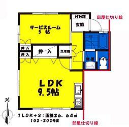 コスモコーポ 1階1LDKの間取り