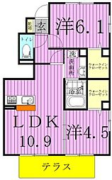 クレール(野田)[101号室]の間取り