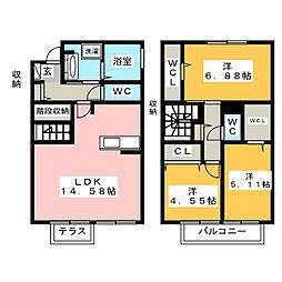 スカイフィールド六番館[1階]の間取り