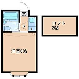 宮城県仙台市青葉区米ケ袋2丁目の賃貸アパートの間取り